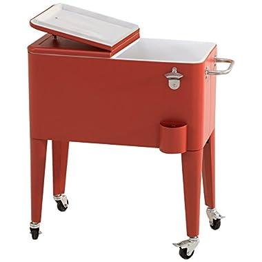 Sunjoy L-BC153PST 60 quart Wheeled Beverage Cooler in Red