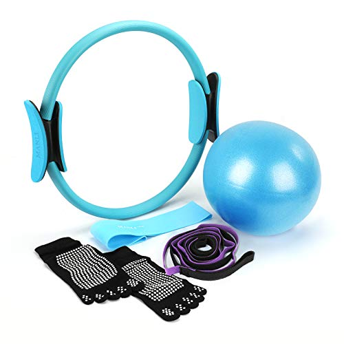 MANLI 15'Pilates Ring Set, Yoga Fitness Circle, Resistance Loop Exercise Band, Pilates Ball, Stretch Strap, Non Slip Skid Socks, Top Choice of Physical Therapists & Athletic Trainers