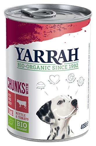 YARRAH Bio Hundefutter Bröckchen Huhn, Rind, Brennessel, Tomate 405g, 12er Pack (12 x 405 g)