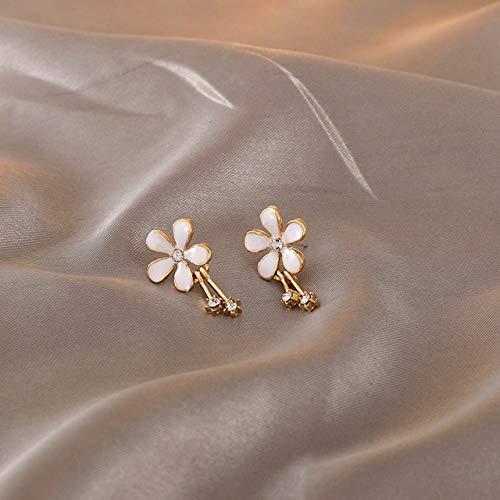 SALAN Clip de Flor de Esmalte Blanco en Pendientes no Perforados para Mujeres 2020 nuevos Pendientes Lindos Dulces Irregulares Pendientes de Moda joyería de Moda Regalo