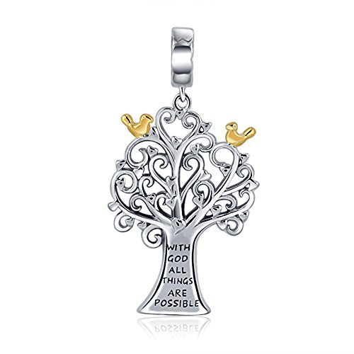 AMATOLOVE 925 Sterling Silver Charms With God All Things Are Possible Family Tree of Life Pendant fit Bracelets Necklace