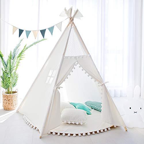 TreeBud Tienda Tipi para niños - Tienda Infantil Indias Blancas de Cinco Postes - Casa de Juegos de Lona de Algodón con Encaje de Pompones con Bolsa de Mano para Interiores y Exteriores