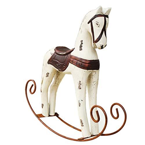 VOSAREA Pferde Deko Holz Schaukelpferd Holzpferd Holzfigur Tisch Deko Home Ornamente Geschenk (Milchweiß)