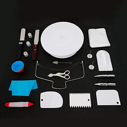 Fetcoi Juego de 94 platos giratorios para tartas, soporte para tartas, cortador, plato para tartas, plato giratorio, boquillas