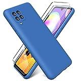 Oududianzi - Funda para Samsung Galaxy A42 5G con 2 Pack Protector de Pantalla de Vidrio Templado, Funda de Silicona Líquida Suave Case de Goma Ultrafina a Prueba de Choques de Color Puro - Azul