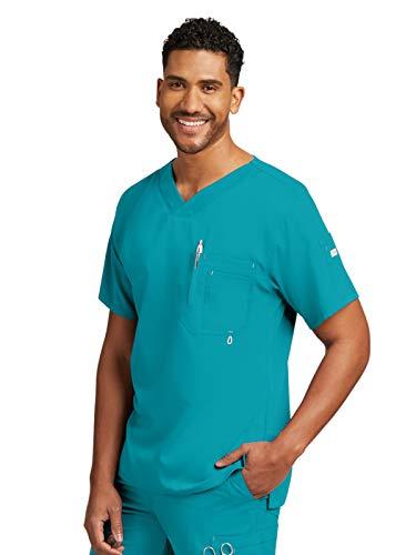 Grey's Anatomy Men's Modern Fit V-Neck Scrub Top, Teal, Small