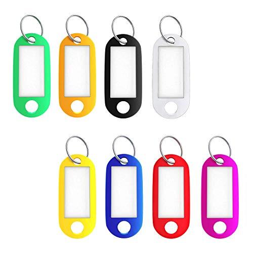 Lot de 16 porte-clés avec porte-étiquette et anneau fendu Étiquettes d'identification 8 couleurs variées
