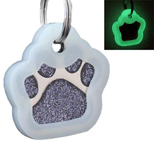 io tags Pet ID Tags, Personalized Dog Tags and Cat Tags, Custom Engraved, Easy to Read, Cute Glitter Paw Pet Tag (Black + Silencer)