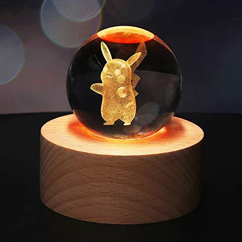 3D Kristall Ball Geschenk, Fernbedienung 7 Farben und 16 Farbwechseln, Geburtstag Weihnachts Geschenk für Jungen und Mädchen, Geschenkbox-Paket (Pikachu)