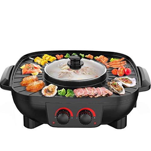 Ménage Intégré Électrique Hot Pot Électrique Pan Barbecue Machine Coréenne Torréfaction Multi-Fonction Pot Carré Double Interrupteur 1.8L Grande Capacité