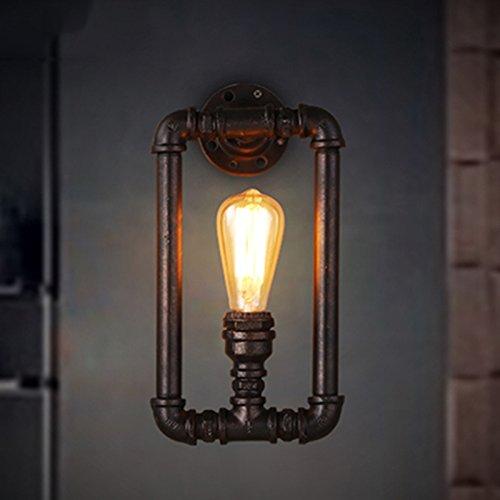 ZWL Loft Retro Water Pipes Lampe murale Lampe murale en fer Industrie Personnalité Creative Aisle Restaurant Bar Single Head E27, 18 * 35CM mode (taille : 18 * 35CM)