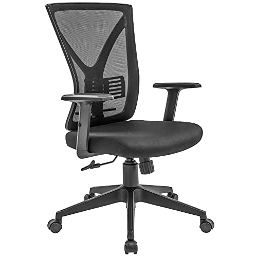 RYANGEL Office Chair Ergonomic Desk Chair with Adjustable Arms & Lumbar Support, Breathable Mesh Backrest, Comfortable Thicker Seat, Black Mesh Executive Swivel Computer Chair for Reducing Back Pain