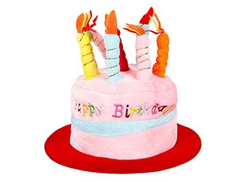 Alsino Happy Birthday Geburtstagshut Hut Geburtstagstorte Mütze Kerzenhut mit Melodie , Variante wählen:62/1022 rot bunt