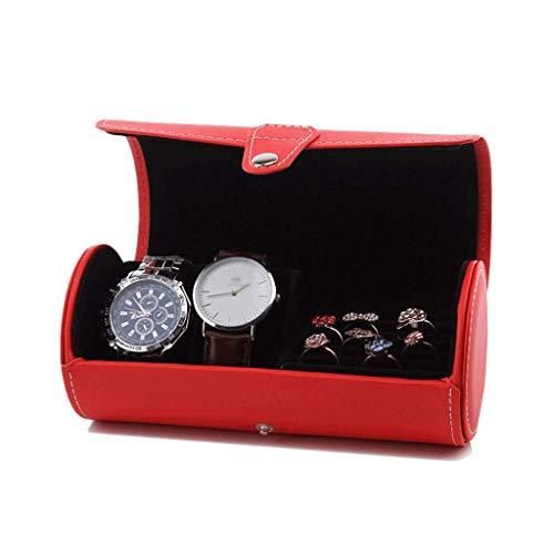 BWCGA Caja de Reloj del Reloj de Caja portátil con Compartimentos, la Caja de Viaje, Caja de Reloj de Cuero sintético, (Color : Red)
