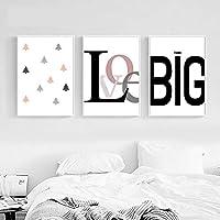 KDSMFA子供ポスター動機付けの壁アートキャンバスプリントミニマリスト絵画保育園の写真子供赤ちゃんの寝室の装飾家の装飾/ 19x27インチ50x70cmx3(フレームなし)