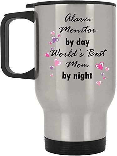 Alarm Monitor By Day World's Best Mom By Night Coffee Silver Travel Mug With Handle - 14 Oz Stainless Steel - Funny Cute Present