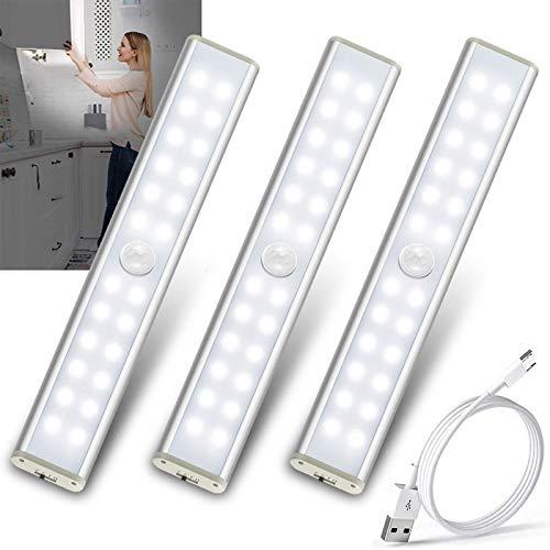 LED Schrankbeleuchtung mit Bewegungsmelder 24 LED Sensor Licht LED Leiste Unterbauleuchte Wiederaufladbar Batteriebetrieben Closet Light Schranklicht Küchenleuchte USB Nachtlicht 3 Modi-Weiß(3 Pack)