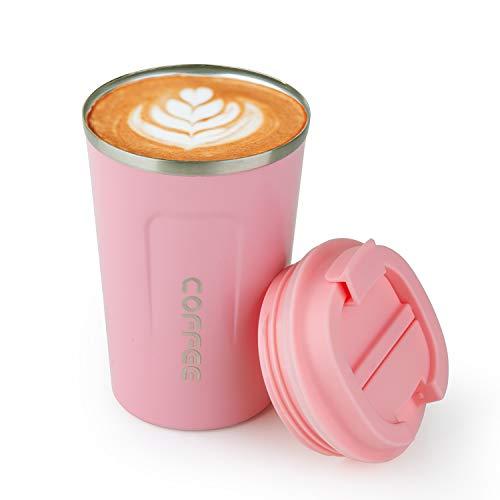 Kaffeebecher to go Thermobecher Edelstahl mit Deckel Travel Mug 12.85oz/380ml Auslaufsicher BPA-Frei unterwegs muttertaggeschenke(Rosa)