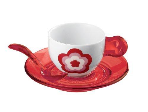 Guzzini Set 2rot Flower Espresso Tassen + Untertassen + Teelöffel