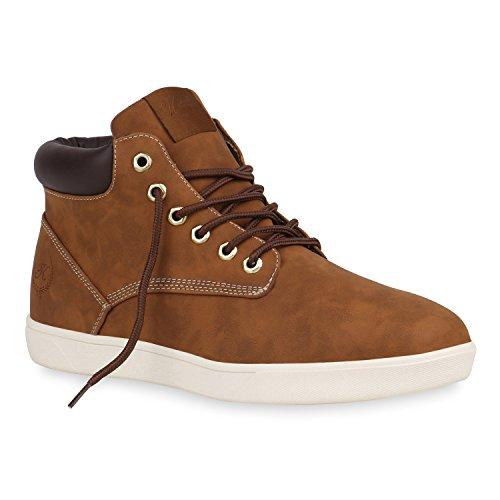 stiefelparadies Herren Schuhe Sneakers Sneakers High Frühling Sommer Herbst 152052 Braun Basic 41 Flandell