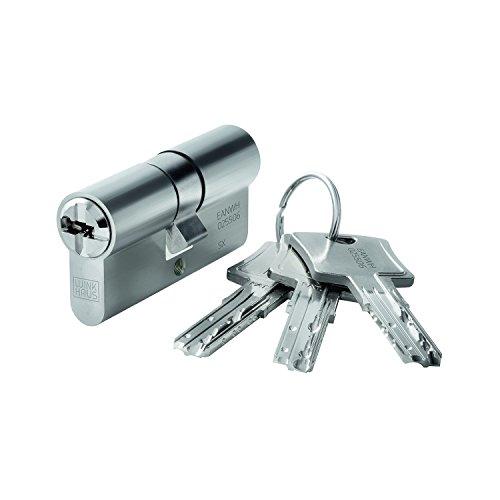WINKHAUS 9002730442687 Einbaudoppelzylinder key Tec N-Tra 28/40, Messing vernickelt matt