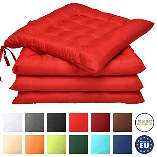 Beautissu Lot de 4 galettes de Chaise Lea - Confortable et coloré - Idéal pour intérieur et extérieur - 40x40x5 cm - Rouge
