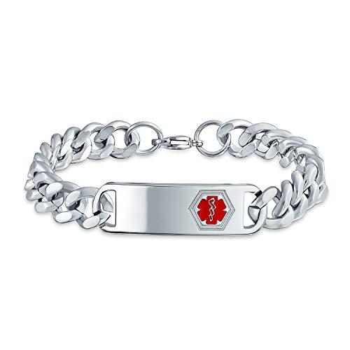 Bling Jewelry Médicos Identificación Médica Brazalete Alerta Médica Personalizado Curb Chain para Hombre Tono Plata 8Acero