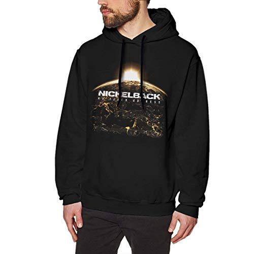 SHUNFAN Herren Kapuzenpullover, Hooded Sweat, Nickelback Mens Long Sleeve Sweatshirts Men's Hoodies Black