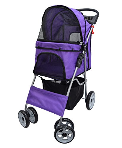 VIVO Four Wheel Pet Stroller, for Cat, Dog and More, Foldable Carrier Strolling Cart, Multiple Colors (Purple)