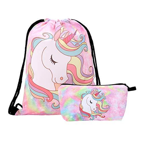 TENDYCOCO 2pcs unicorno zaino con coulisse zaino mazzo tasca borsa per custodia cosmetica di fitness (rosa)
