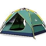 HEWOLF Wurfzelt Automatisches Pop Up Zelt 2-3 Personen Camping Zelt Wasserdicht Familienzelt Leichtes Kuppelzelt Doppelschicht Firstzelte Outdoor Zelte mit Tragetasche Grün
