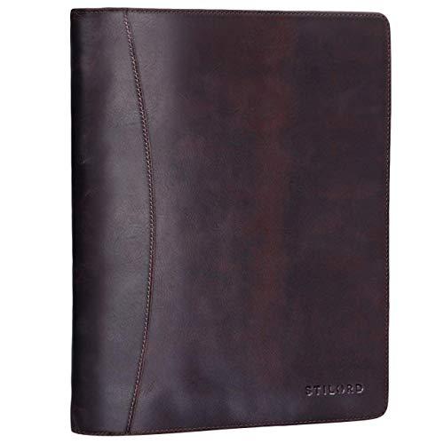 STILORD 'Vincent' Portadocumentos de Piel Vintage con Anillas Carpeta de conferencias o portafolios para Documentos DIN A4 Organizador de auténtico Cuero, Color:Kara - marrón