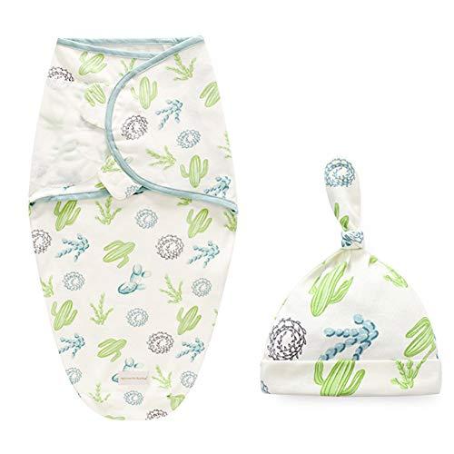 Wrap Up Baby Swaddle Saco de dormir de algodón con gorro gorro de velcro manta para recién nacido de 0 a 6 meses (verde)