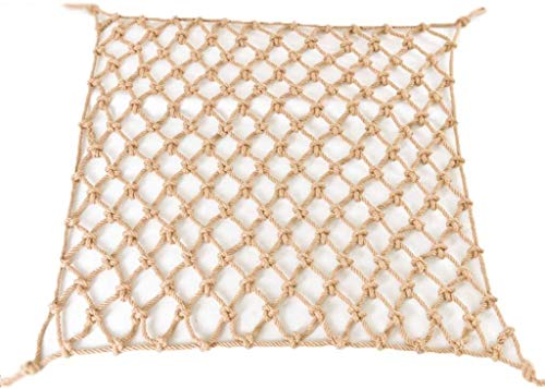 UIPU Natural Jute Rope Net, Stairs Anti-fall Safety Net, Hanging Mesh Fence Railing Safety Net For Indoor And Outdoor 0630 (Size : 2x9m)