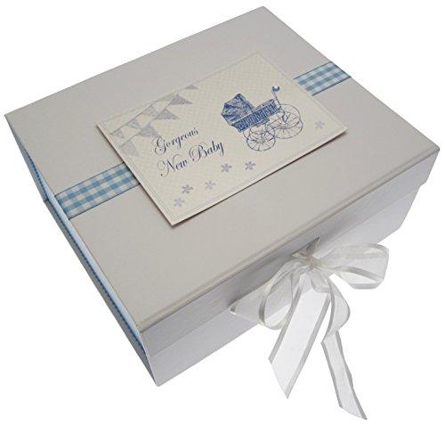 Nouveau bébé, petite boîte souvenir, Bleu fanions et landau