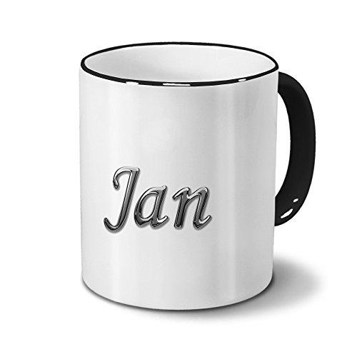 Tasse mit Namen Jan - Motiv Chrom-Schriftzug - Namenstasse, Kaffeebecher, Mug, Becher, Kaffeetasse - Farbe Schwarz