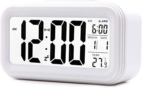 Alarm Clock LED Display Digital Alarm Clock Snooze Night Light Battery Clock with Date Calendar Temperature for Bedroom Home Office Travel