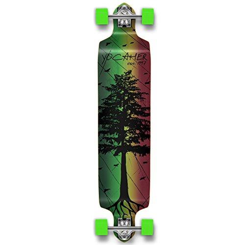 Yocaher Drop Down Pro Longboard Complete Cruiser Downhill Freestyle Freeride Skateboard (Pines Rasta)