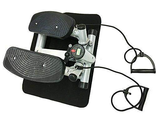 Style home Mini Stepper Powerful Fitness Hometrainer incl. Traningsbänder Display (Grau)