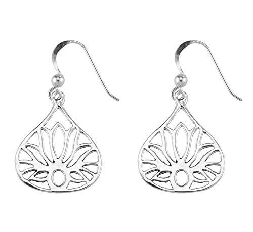 Lotus Flower Earrings - Sterling Silver