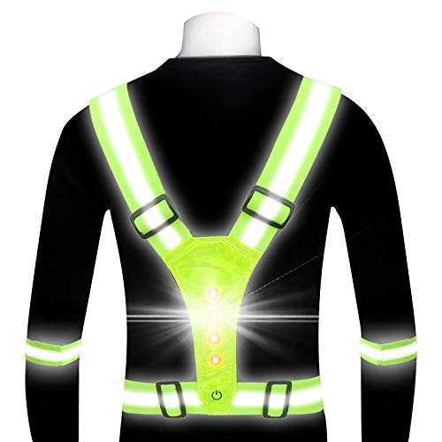 gootrades LED Reflective Running Gear Vest for Women Men, Adjustable Elastic Safety Gear Accessories with 2 Reflective Bands Night Running Walking Cycling Biking (Green)