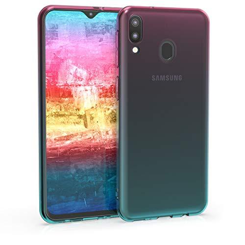 kwmobile Hülle kompatibel mit Samsung Galaxy M20 (2019) - Hülle Handy - Handyhülle Zwei Farben Pink Blau Transparent