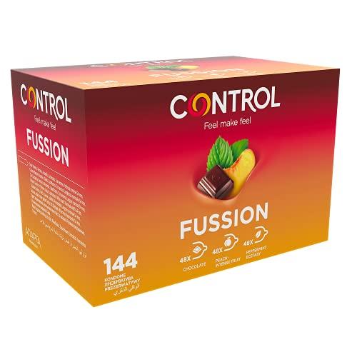 Control Fussion Preservativos - Caja de condones de aormas afrodisíacos: chocolate, menta y melocotón - 144 unidades (pack grande ahorro) - Gama placer natural, lubricados, perfecta adaptabilidadades