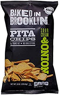 Baked In Brooklyn Pita Chips Sour Cream & Onion 8 oz (pack of 12)