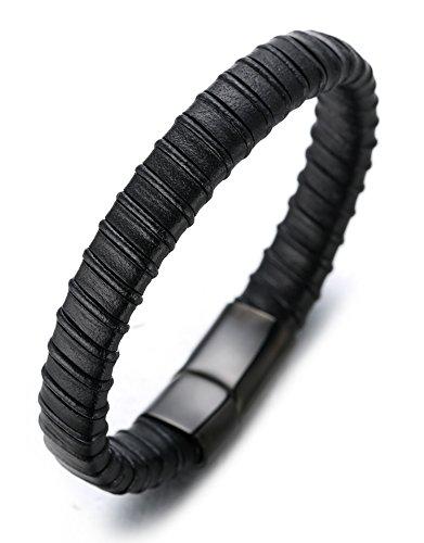 Halukakah ● Jazz ● Herren-Armband Handgefertigt | Echtleder in Schwarz | Yin und Yang Magnetverschluss aus Edelstahl in Schwarz | KOSTENLOS Geschenkbox | Tolle Geschenkidee | 21.5cm