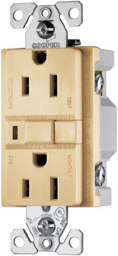 EATON Wiring VGF15V 15-Amp 2-Pole 3-Wire 125-Volt Duplex Ground Fault Circuit Interrupter, Ivory