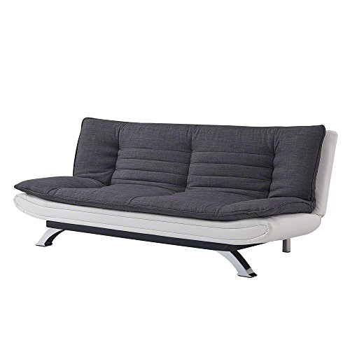 Duo-Contrast 3 Seater Sofabed in Duck Grey/Charcoal Fabric or Charcoal Fabric/White Faux Leather (Charcoal, Faux Leather)