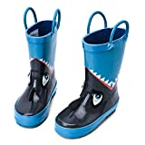 hiitave Kids Toddler Waterproof Rubber Rain Boot for Boys Girls with Easy Pull On Handles Blue/Shark 6 M US Toddler