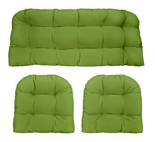 RSH Décor Indoor Outdoor 3 Piece Tufted Wicker Settee Cushions 1 Loveseat & 2 U-Shape Weather Resistant ~ Choose Color (Gecko Green, 2-19'x19' 1-41'x19')