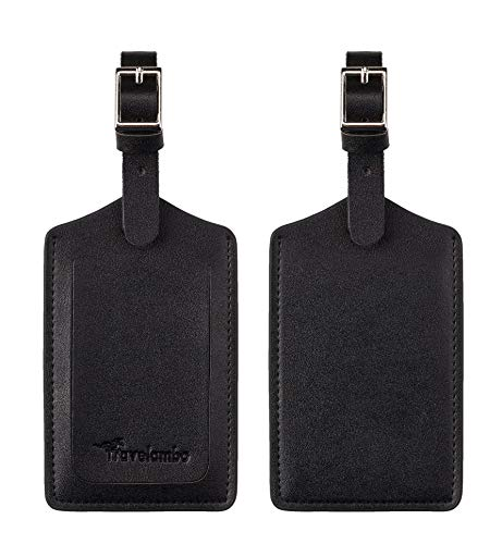 Travelambo Leather Luggage Bag Tags (Black)